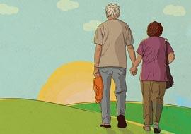 זוג קשישים הולכים לעבר השקיעה