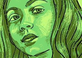 איור ילדה ירוקה באדובי פרסקו