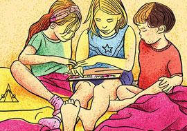 איור ילדים עם טאבלט