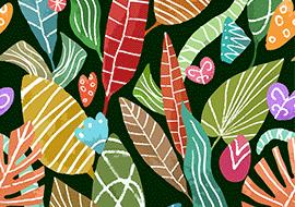 פאטרן עלים צבעוניים